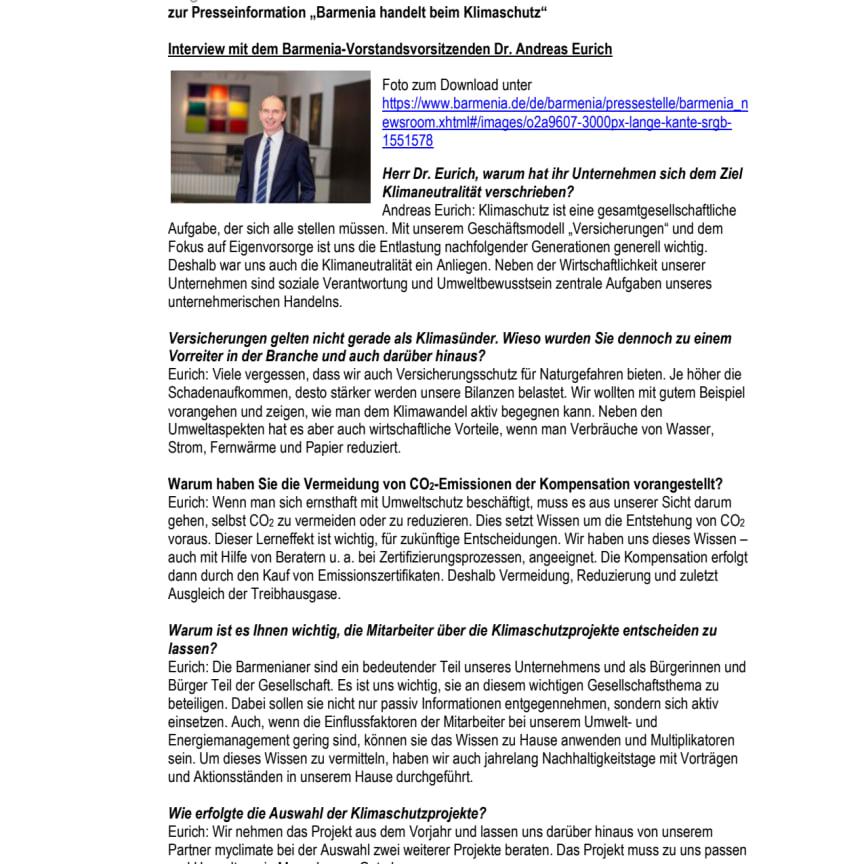 Klimaneutralität: Interview mit dem Vorstandsvorsitzenden Dr. Andreas Eurich