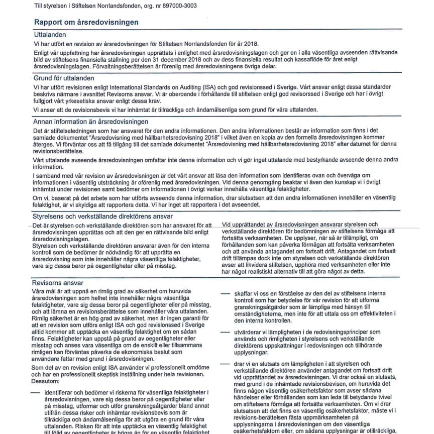 Revisionberättelse 2018 samt Revisors rapport över  översiktlig granskning av Norrlandsfondens hållbarhetsredovisning 2018