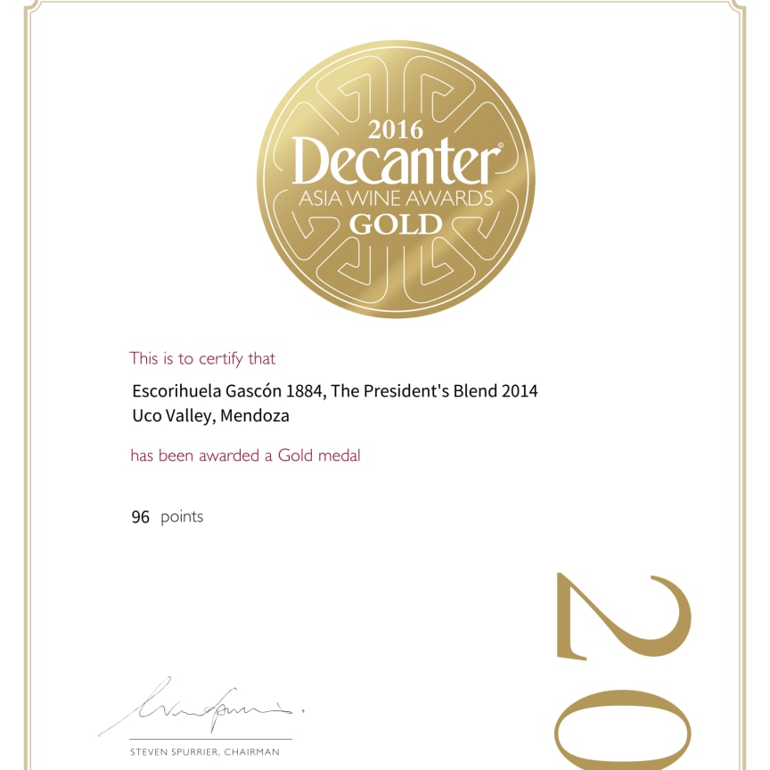 Decanter certificate 96 points 1884 The President's Blend 2014