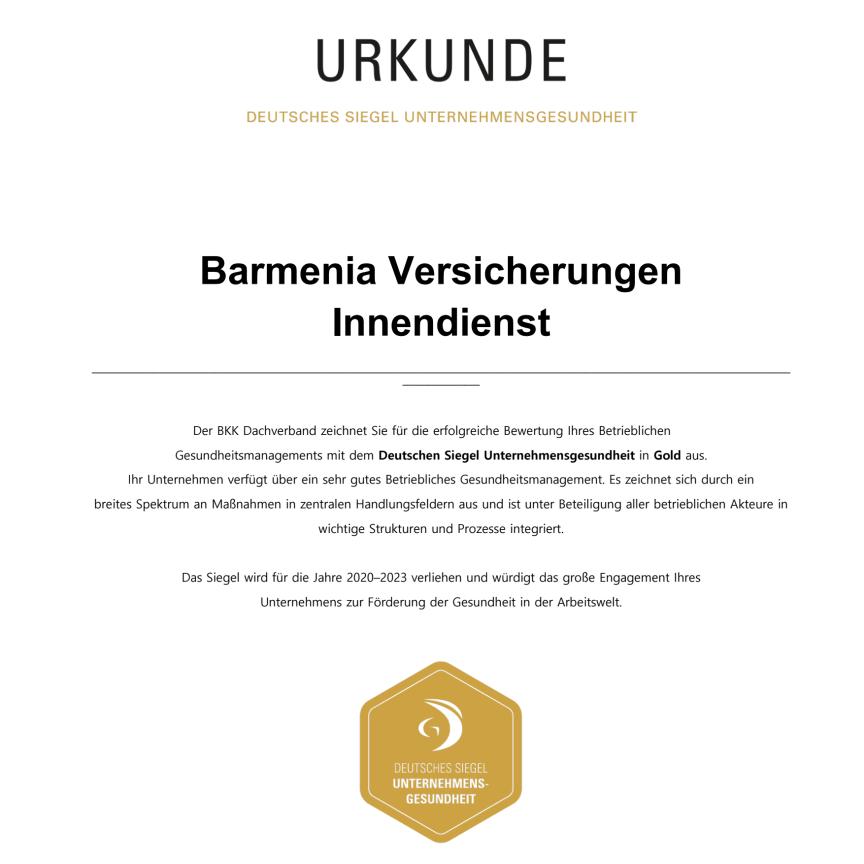 Barmenia-Urkunde Unternehmenssiegel