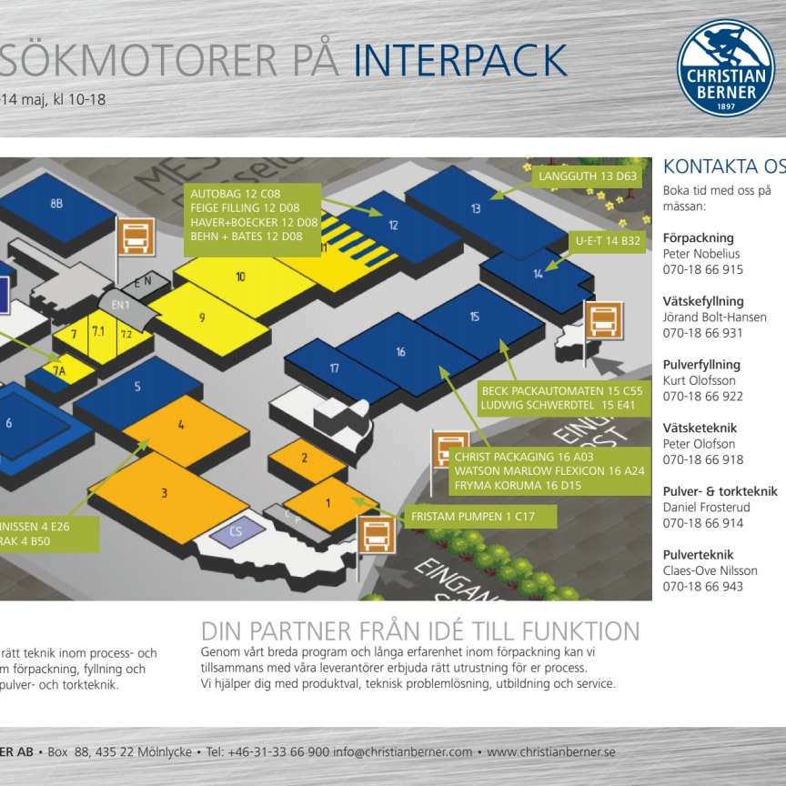 Interpack 2014, karta över mässhallarna
