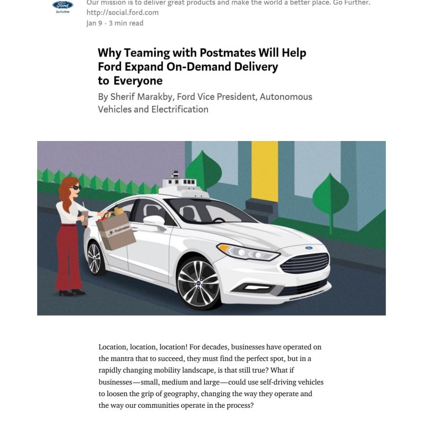 Ford i samarbejde med Postmates om on-demand levering af selvkørende biler - CES 2018