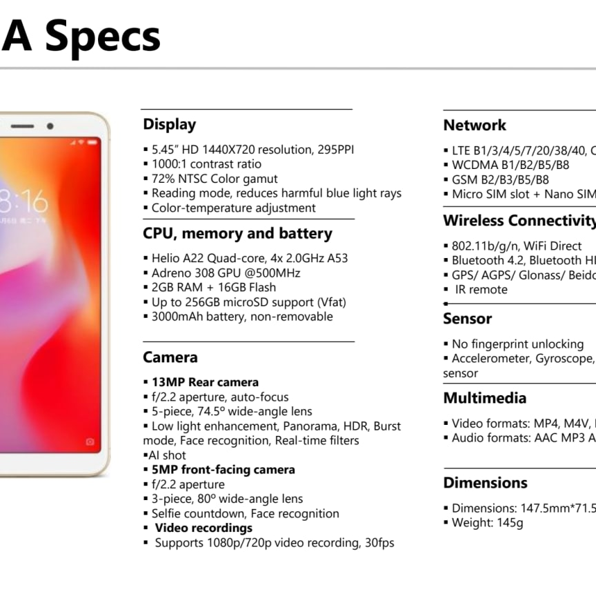 Tekniska specifikationer Xiaomi Redmi 6A & Mi 8