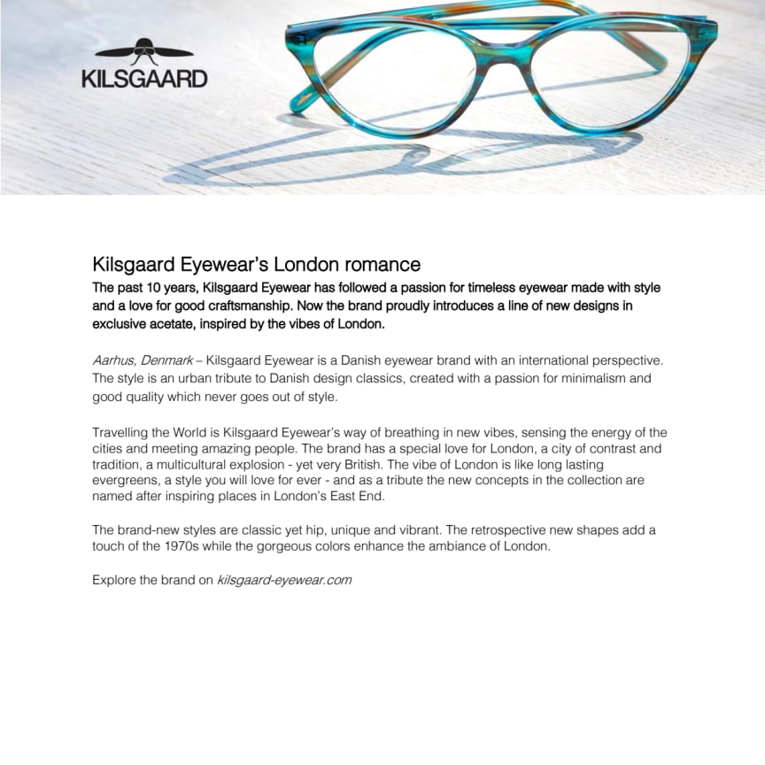 Kilsgaard eyewear's London romance