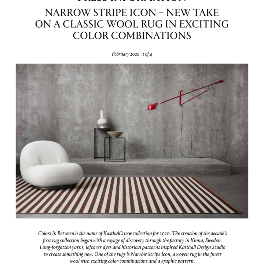 NARROW STRIPE ICON – NEW TAKE ON A CLASSIC WOOL RUG IN EXCITING COLOR COMBINATIONS