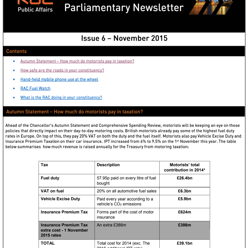 RAC Parliamentary Newsletter #6 - November 2015