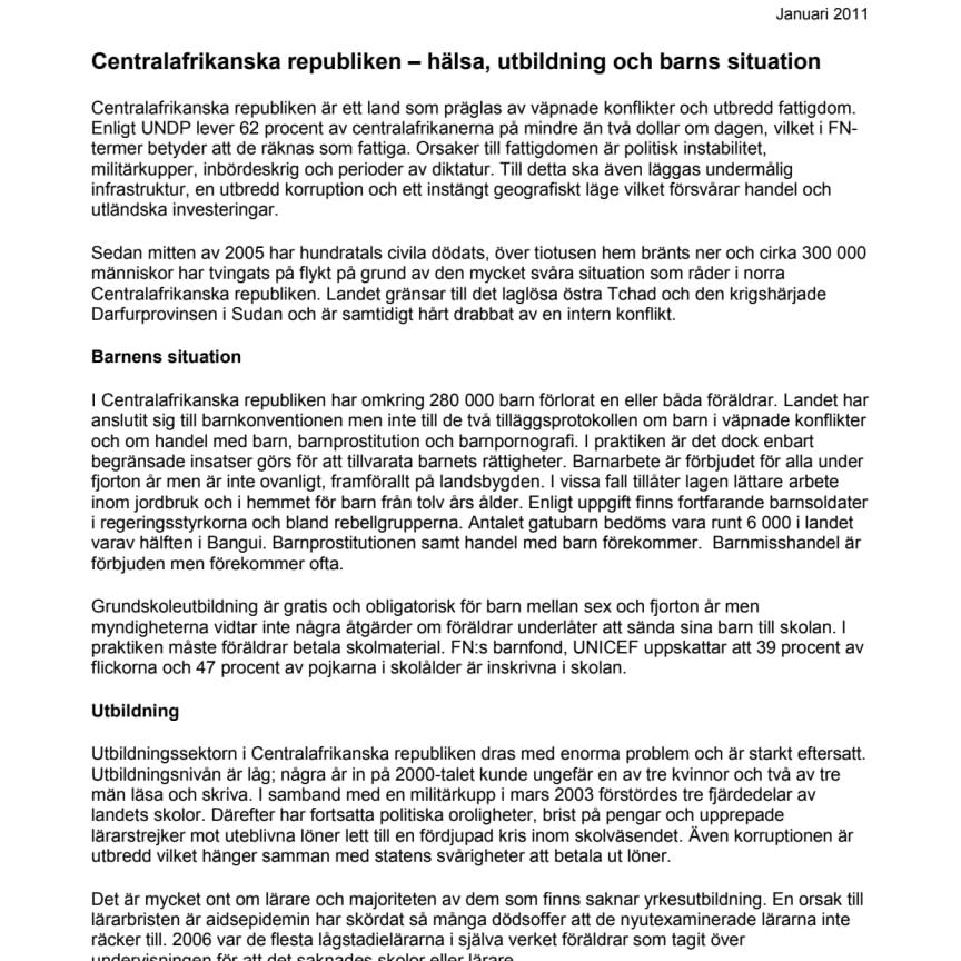 Pressfakta: Centralafrikanska republiken - hälsa, utbildning och barns situation