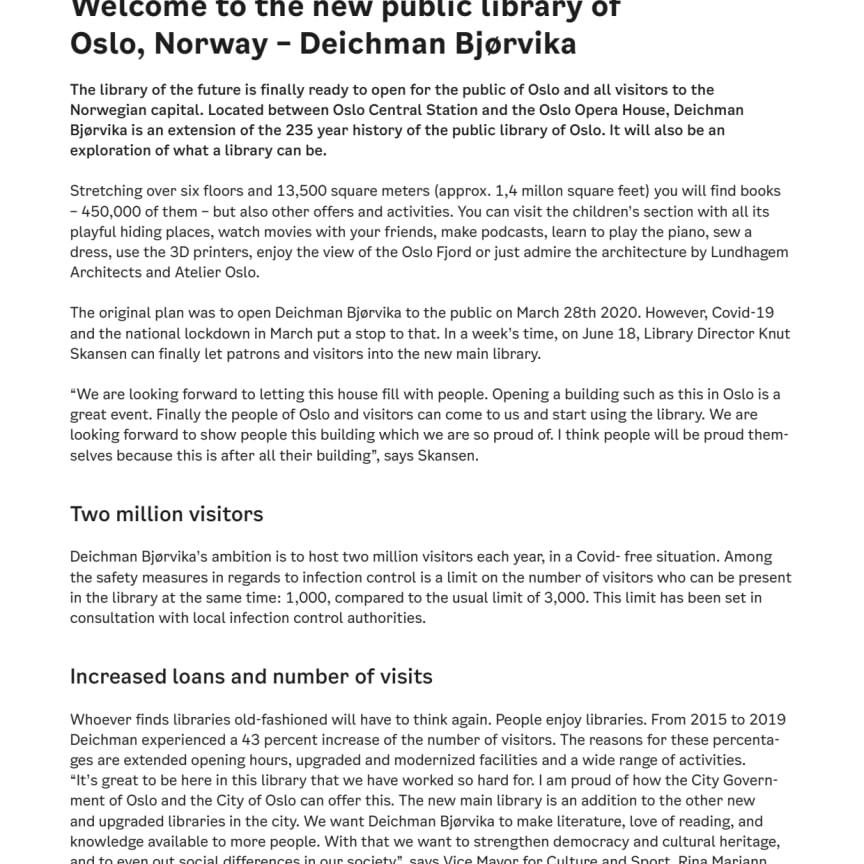 Fact sheet - Deichman Bjørvika