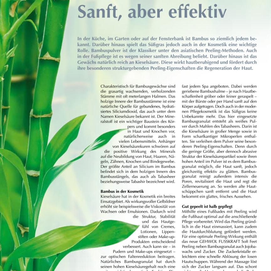 Sanft, aber effektiv: Bambuspulver sorgt für den natürlichen Peeling-Effekt