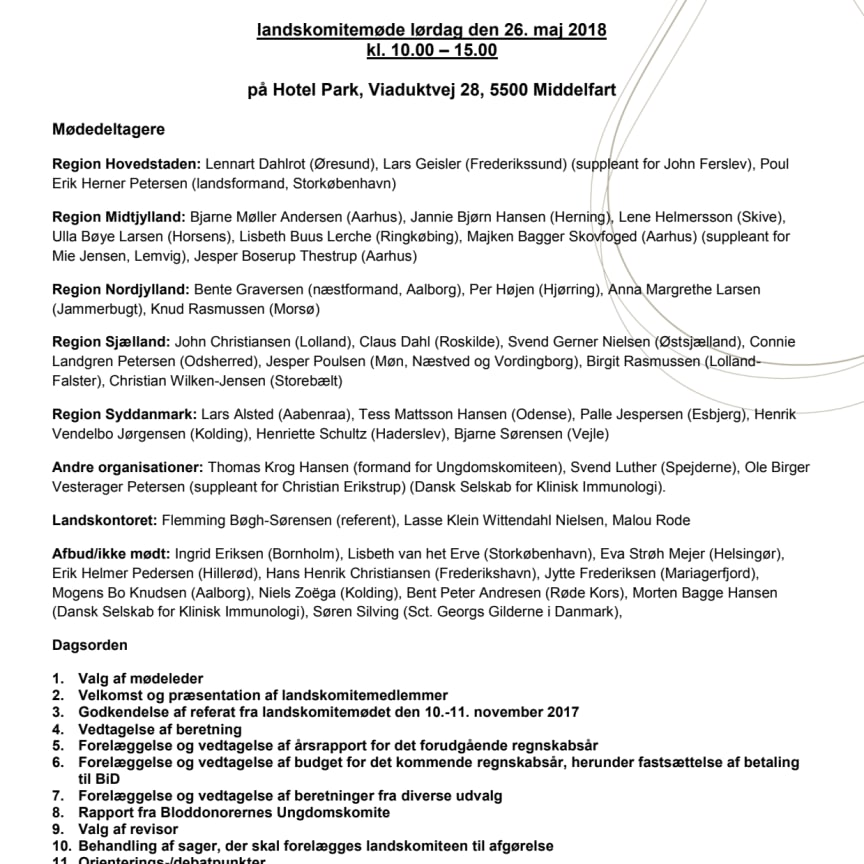 Referat af Landskomitémøde 26. maj 2018