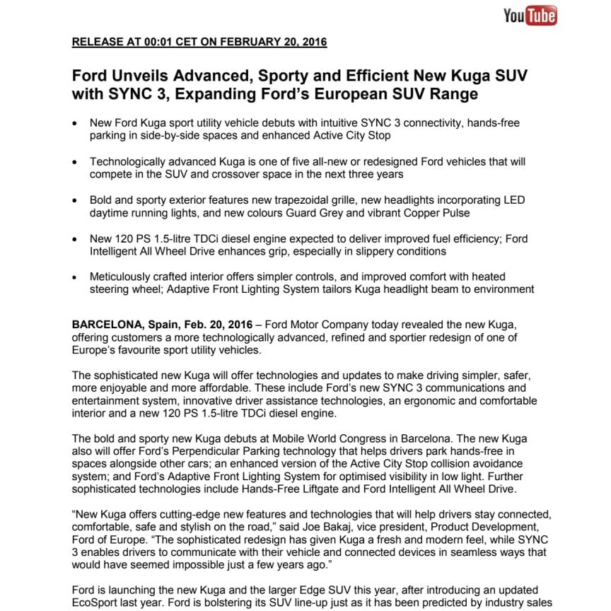 Ford præsenterer ny Kuga - med SYNC3