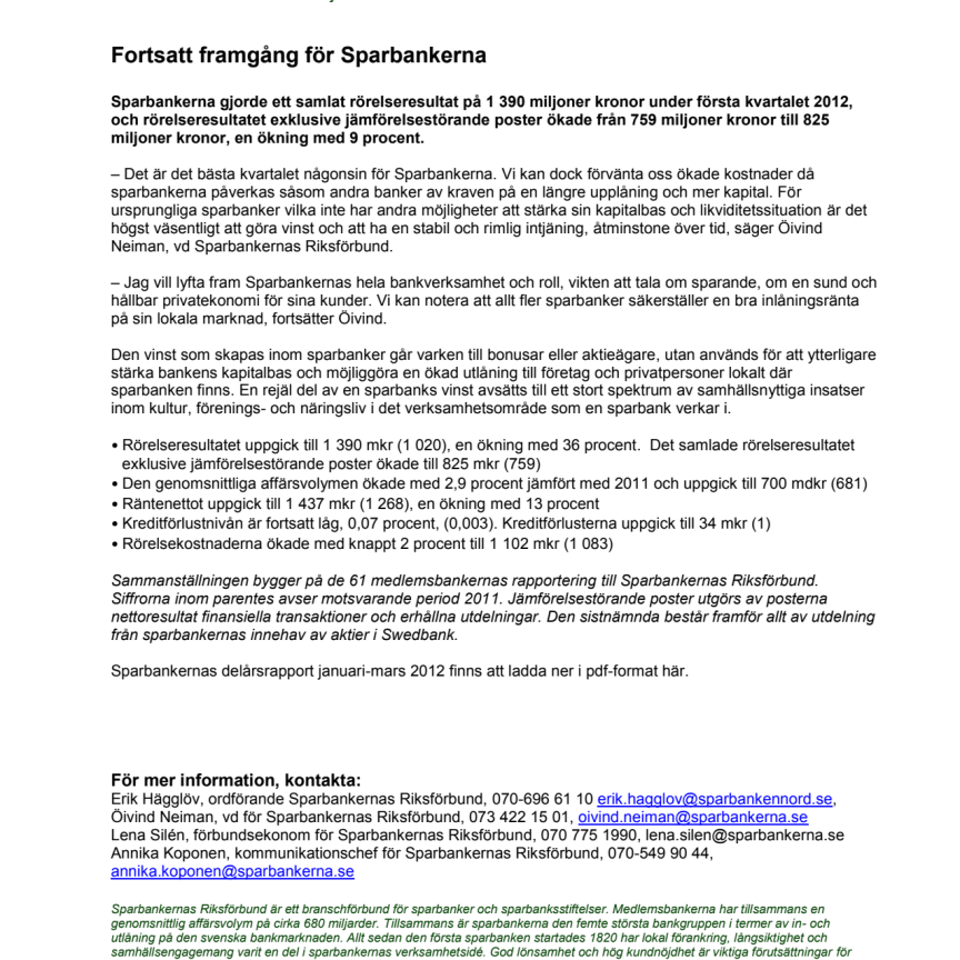 Sparbankernas delårsrapport Januari-mars 2012: Fortsatt framgång för sparbankerna