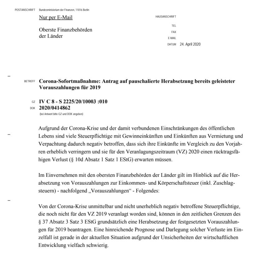 BMF Schreiben vom 24.04.2020