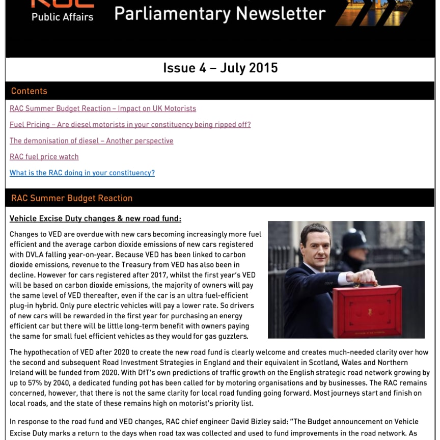 RAC Parliamentary Newsletter #4 - July 2015