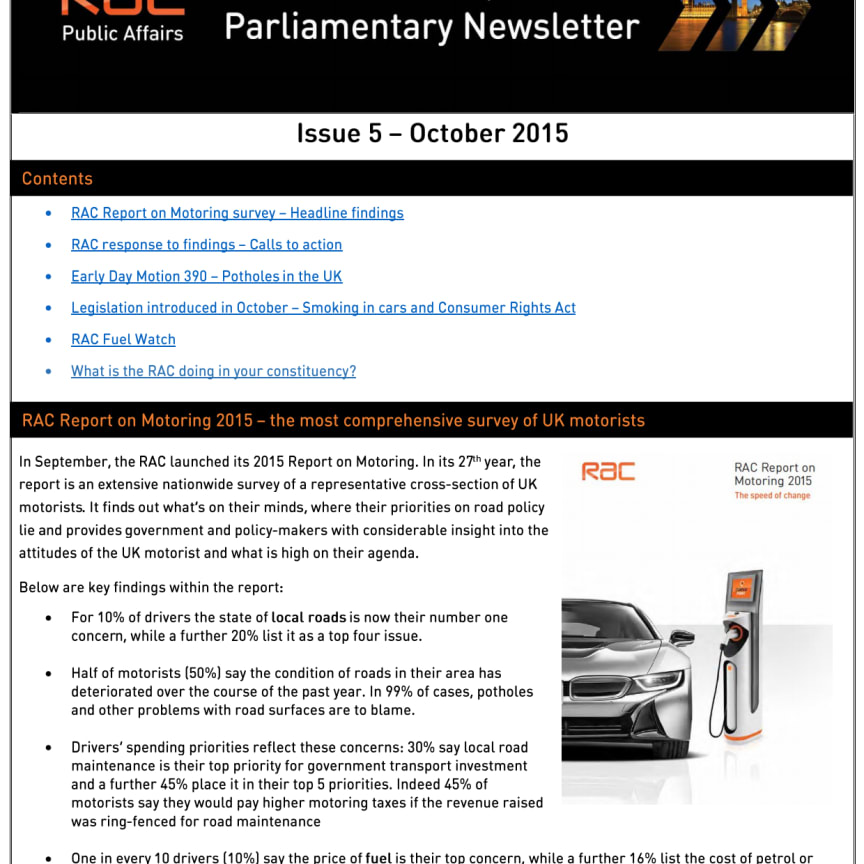 RAC Parliamentary Newsletter #5 - October 2015