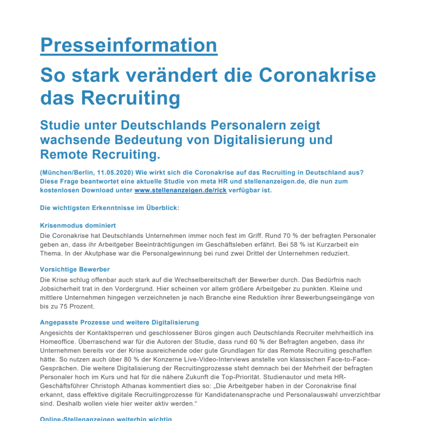Presseinformation: Studie Recruiting in der Coronakrise, pdf