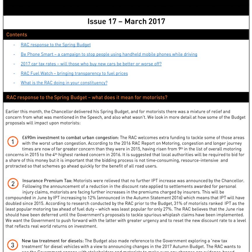 RAC Parliamentary Newsletter #17 - March 2017