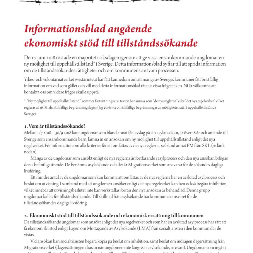 Informationsblad angående ekonomiskt stöd till tillståndssökande