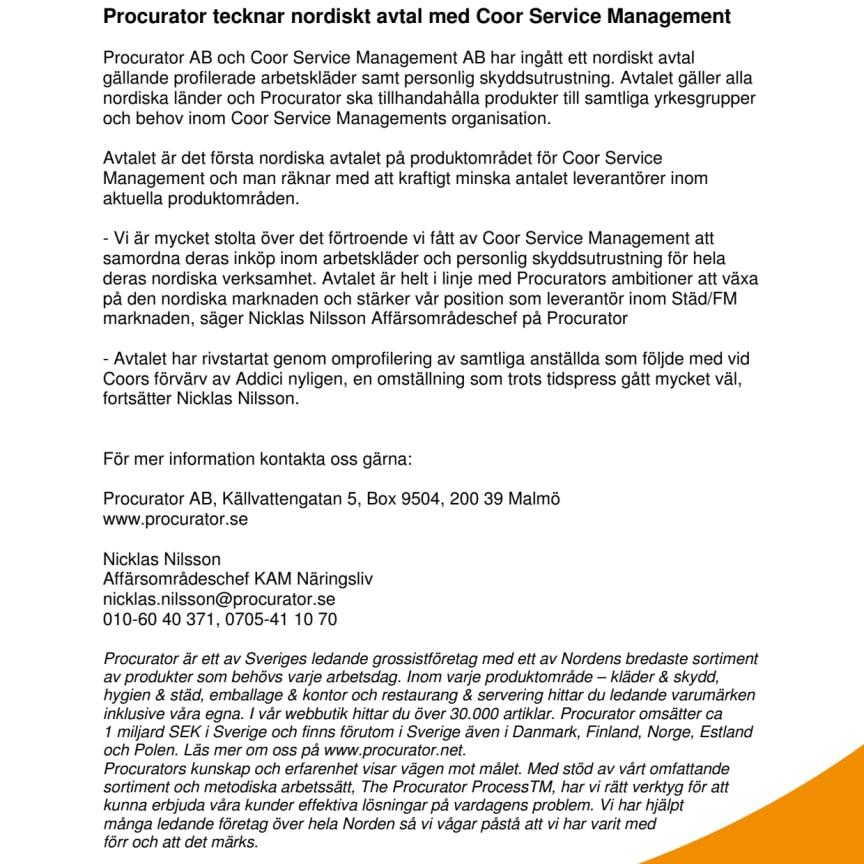 Procurator tecknar nordiskt avtal med Coor Service Management