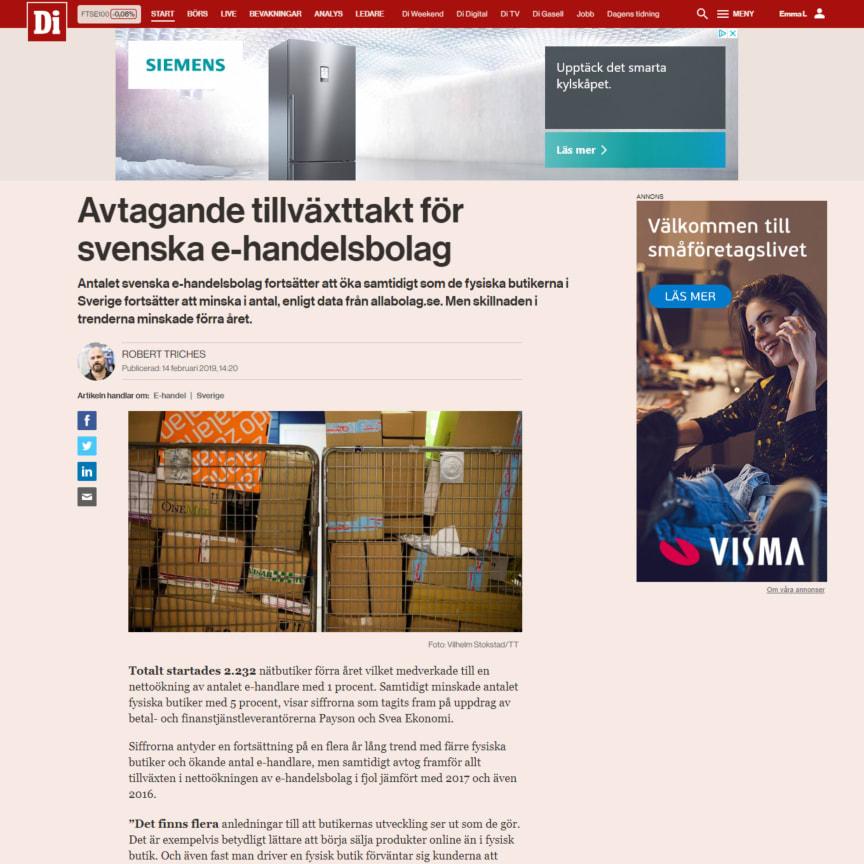 Avtagande tillväxttakt för svenska e-handelsbolag