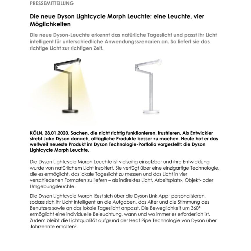 Die neue Dyson Lightcycle Morph Leuchte: eine Leuchte, vier Möglichkeiten