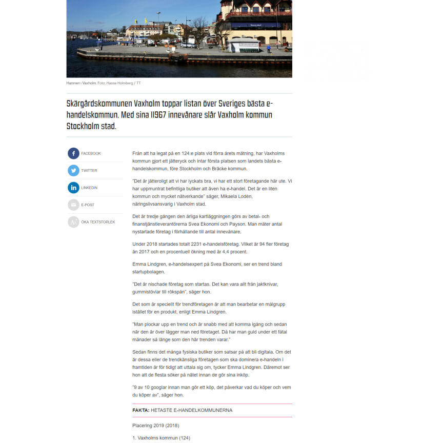 Här är Sveriges hetaste kommun för e-handel