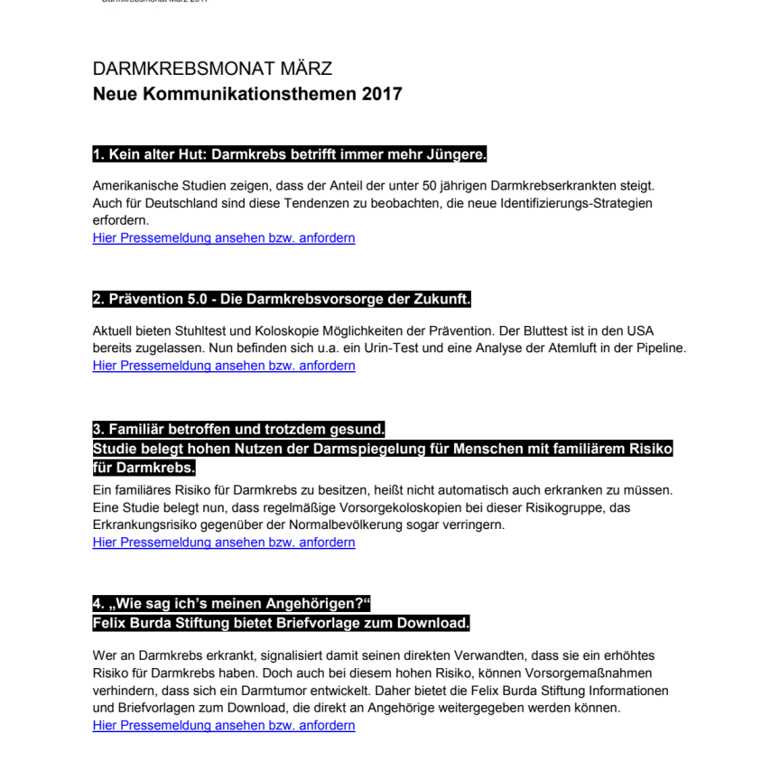 Darmkrebsmonat März 2017: Themenschwerpunkte der Felix Burda Stiftung