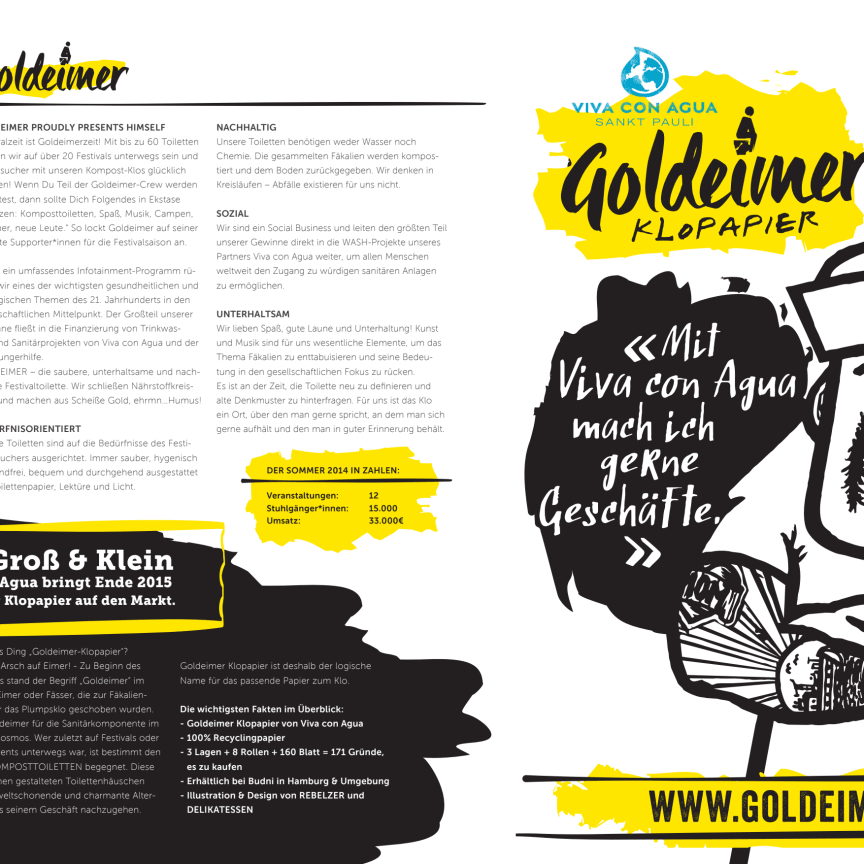 Goldeimer proudly presents himself - JETZT NEU mit Kult von der Rolle: Goldeimer Klopapier by Viva con Agua