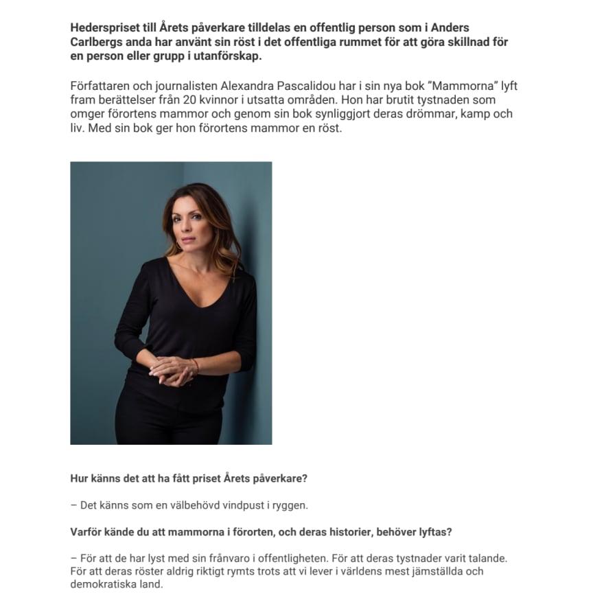 Intervju Alexandra Pascalidou inför Anders Carlbergs Pris 2018