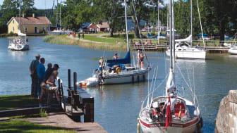 Pressbild - Göta kanal, slussning i Sjötorp