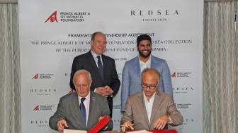 The signing ceremony between Red Sea Collection by The Public Investment Fund of Saudi Arabia and Prince Albert Foundation - a framework agreement on sustainability and marine conservation aims