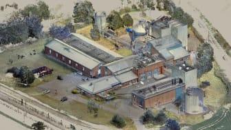 3D-scanning av Alvim renseanlegg i Sarpsborg. Norconsult skal utrede videreutvikling av anlegget. (Illustrasjon: Norconsult)