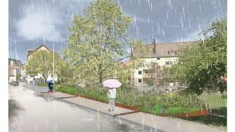 Skiss över den kommande regnrabatten som ska minska översvämningarna i Brämaregården. Illustration: Tyréns