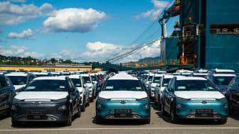 Helt nye KONA electric ankommer Drammen havn. Foto: Hyundai