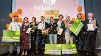 Gruppbild på alla regionala vinnare i Venture Cup Väst. Foto: Rickard Olausson