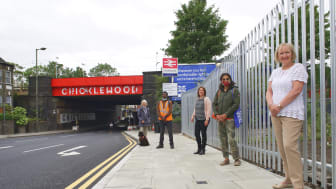 Cricklewood railway bridge boasts a bright new sign - MORE IMAGES AVAILABLE TO DOWNLOAD BELOW