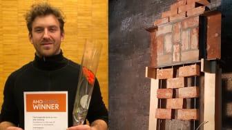 Arkitektstudent Fredrik Rognerud fikk pris for «fremragende bruk av mur eller betong»