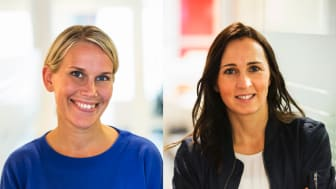 Karolina Brick, miljöchef på Riksbyggen och Therese Berg, hållbarhetschef Riksbyggen,