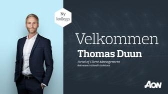 Thomas Duun tiltræder den 1. april 2021 som Head of Client Management i Retirement & Health Solutions hos Aon Denmark.