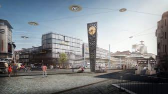 Mit dem grundlegenden Umbau des zentralen Jahnplatzes will die Stadt Bielefeld den motorisierten Verkehr in der Innenstadt reduzieren und den Raum für klimafreundliche Mobilität deutlich ausbauen. (Copyright : © loomn – architektur visualisierung)