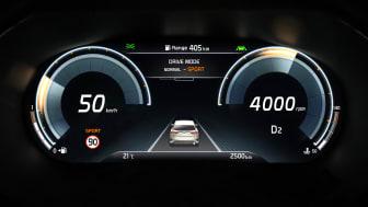 """Den nye 12,3"""" digitale instrumentenhed i KIA XCeed har avancerede grafiske muligheder og lækre applikationer med masser af potentiale til fremtidige bilmodeller"""