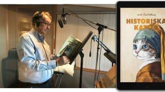 Erik Fichtelius i ljudstudio med Historiska katter