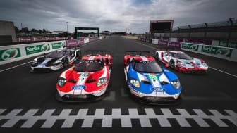 Nu står Ford Chip Ganassi-teamets Ford GT-bilar redo för Le Mans 24 timmar.