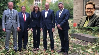 v.r.n.l. Reinhardt Belling, Holger Höhmann, Katrin Erk, Thomas Brobeil, Heinz Augustin, Paul Ludwig Bomke