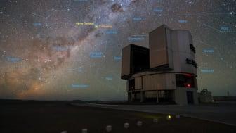 Very Large Telescope (VLT) vid Paranal Observatory i Chiles Atacamaöknen. VLT:s instrumentering har anpassats med bland annat en diamantkoronagraf för att kunna söka efter planeter i trippelstjärnsystemet Alfa Centauri. Foto: Yurij Beletsky(LCO)/ESO