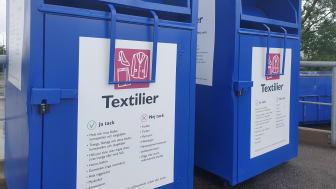 Behållare för insamling av textil på Norra Hamnens återvinningscentral i Malmö.