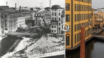 Laxholmen och Strykjärnet. Se denna bild och fler på vår sida om byggnaden (se resurslänk).