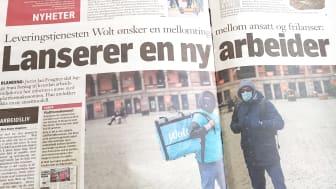 Avisa Klassekampen har satt søkelys på «plattformøkonomien» og løsarbeiderproblematikken i norsk arbeidsliv, blant annet gjennom matleverandørene Foodoora og Wolt. (Bilde av oppslag 4. mai)
