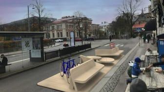 Här på Södra Larmgatan står nu denna prototyp av ny sorts gatumöbel. Illustration: LundbergDesign