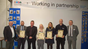 The graduates with founder and CEO of Building Heroes Brendan Williams (far left), course leader Mike Sheldrick (second from left) and GTR Infrastructure Director Keith Jipps (far right)